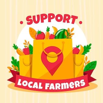 Apoye a los agricultores locales ilustrados