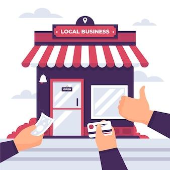 Apoye el concepto de ilustración de negocio local