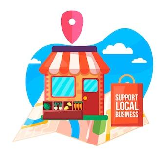 Apoye el concepto de negocio local con la ilustración del mercado