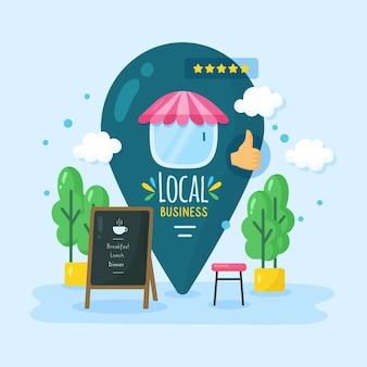 Apoye la ilustración del negocio local