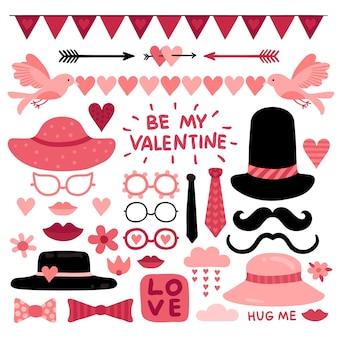Apoyos de la cabina de la foto del día de san valentín. elementos, labios y bigotes del libro de recuerdos de la boda del amor rosado. gafas, corbata y citas de selfie de vector de corazón rojo. apoyos del corazón y la ilustración rosada linda del photobooth de san valentín