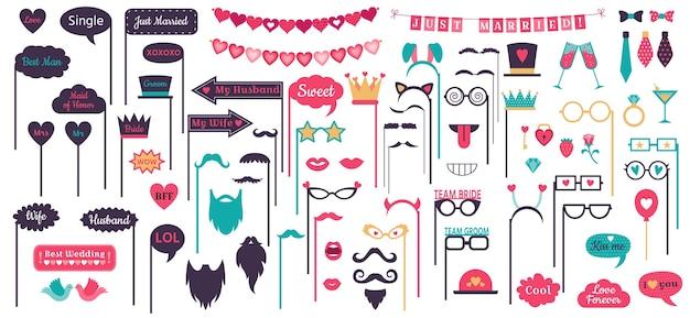 Apoyos de la cabina de fotos. marcos de burbujas de discurso de boda, marco de corazón de amor de doodle, bigote y gafas en apoyo