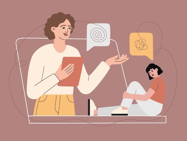 Apoyos psicológicos online al paciente mediante videollamada, consulta con mujer triste sin rostro. conversación en internet con una chica con trastorno mental, servicio virtual de línea de ayuda. ilustración moderna