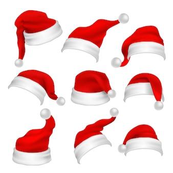 Apoyos rojos de la cabina de la foto de los sombreros de papá noel. elementos de vector de decoración de vacaciones de navidad. sombrero de navidad de papá noel para la cabina de fotos, ilustración de traje de gorra