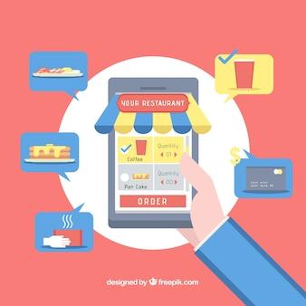 App de restaurante en móvil con diseño plano