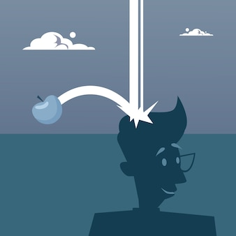 Apple falling on big head nuevo concepto de idea