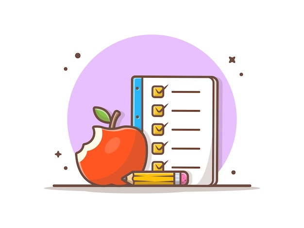 Apple fruta y lista de libros, lápiz. ilustración del icono de regreso a la escuela.