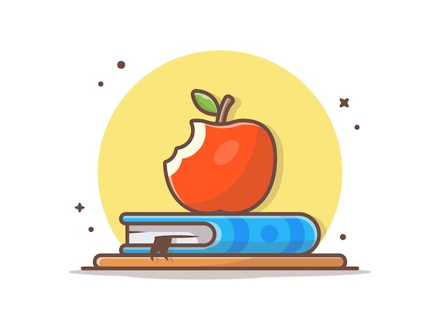 Apple en la ilustración del icono de libro