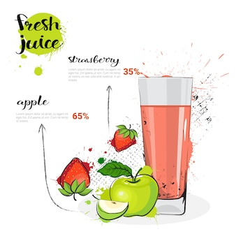 Apple strawberry mix cóctel de jugo fresco dibujados a mano acuarela frutas y vidrio sobre fondo blanco