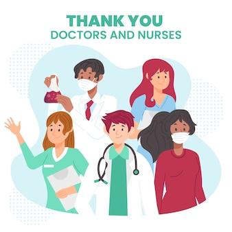 Apreciación de doctores y enfermeras ilustradas