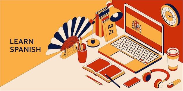 Aprenda el concepto isométrico español con computadora portátil abierta, libros, auriculares y café