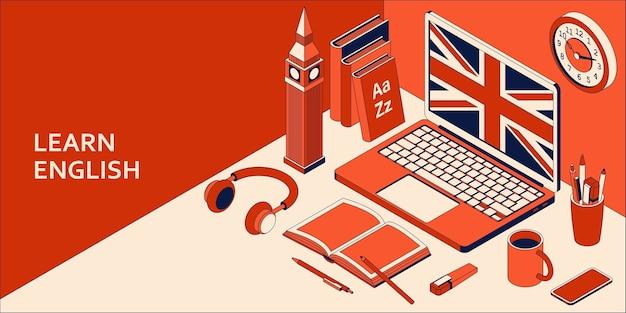 Aprenda el concepto isométrico de inglés con computadora portátil abierta, libros, auriculares y café. ilustración