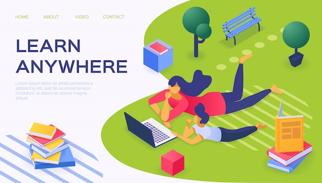 Aprenda en cualquier lugar con la computadora portátil, ilustración. el carácter de las personas utiliza la tecnología de internet para aprender el concepto en línea.