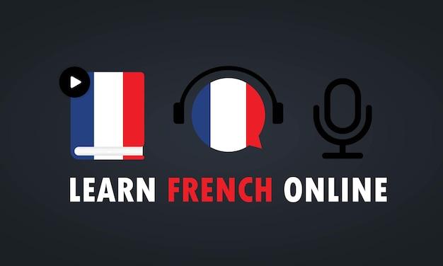 Aprenda francés en línea banner o curso de video, educación a distancia.