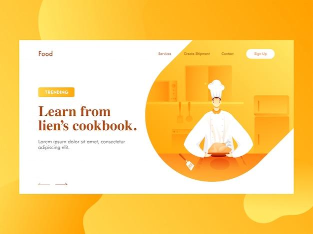 Aprenda de la página de inicio del libro de cocina de lien con el personaje del chef presentando pollo a la vista de la cocina.
