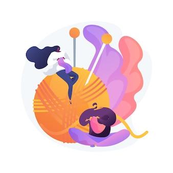 Aprenda a tejer la ilustración de vector de concepto abstracto. la práctica de autoafirmación positiva, los beneficios de crochet para la salud mental, alivian el estrés durante la metáfora abstracta de la pandemia del coronavirus.