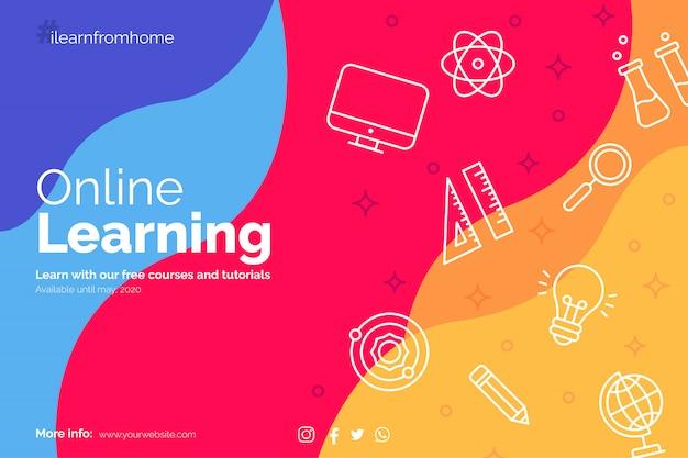 Aprende del banner de inicio con íconos de educación