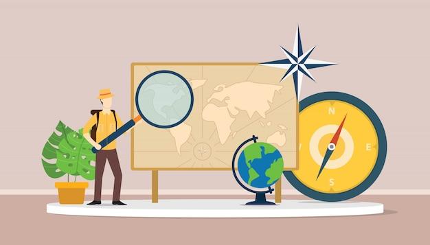 Aprende el concepto de geografía con traje de hombre explorador.