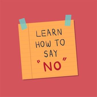 Aprende a decir sin ilustración de nota