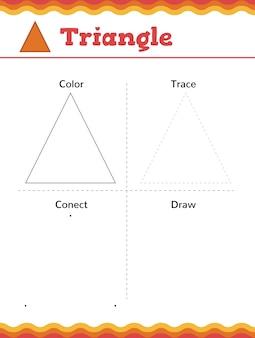 Aprende formas y figuras geométricas. hoja de trabajo de preescolar o jardín de infantes. ilustración vectorial