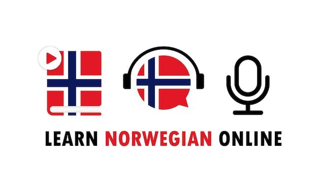 Aprende noruego banner en línea. aprendizaje de lengua extranjera. educación en línea. vector eps 10. aislado sobre fondo blanco.
