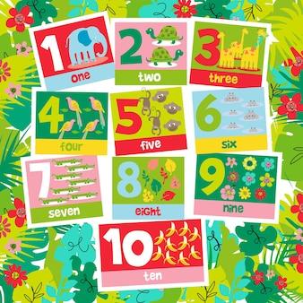 Aprende números y cuenta la ilustración con el diseño del tema de la jungla.