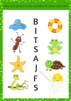 Aprender el alfabeto para niños. estilo de dibujos animados.
