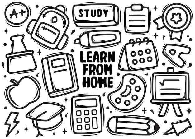 Aprender de casa elemento doodle