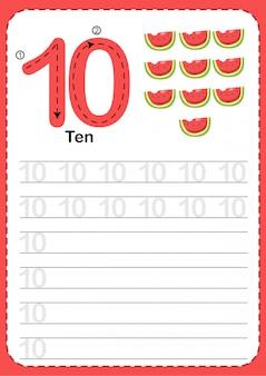 Aprender a contar el número 10.