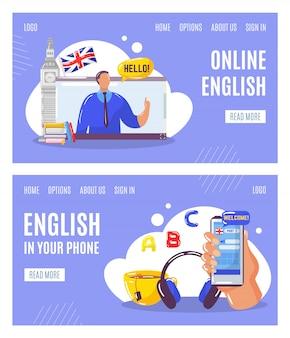 Aprender inglés en línea con el profesor, la educación en su teléfono web banners conjunto ilustración.