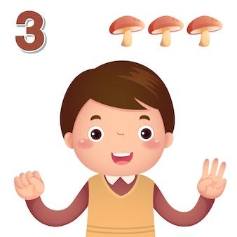 Aprender el número y contar con la mano de los niños mostrando el número tres