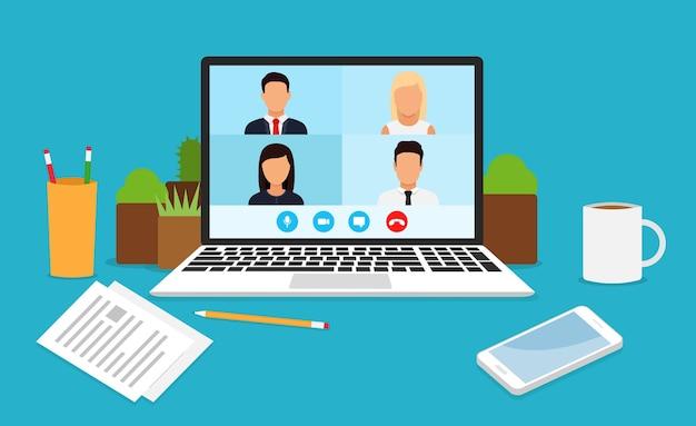 Aprender o reunirse en línea con conferencia. videollamada en conferencia, trabajando desde casa.