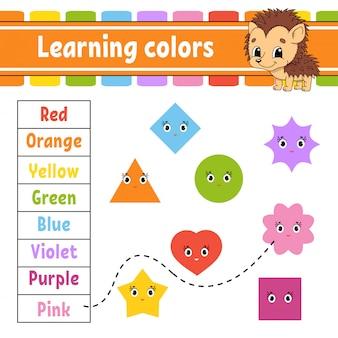 Aprendiendo colores. hoja de trabajo de desarrollo educativo.