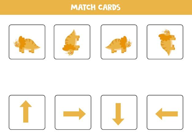 Aprendiendo derecha, izquierda, arriba, abajo con lindo dinosaurio. juego de lógica educativo para niños.