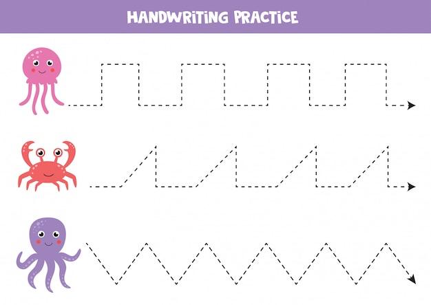 Aprendiendo a escribir con animales marinos. hoja de trabajo de práctica de escritura a mano.