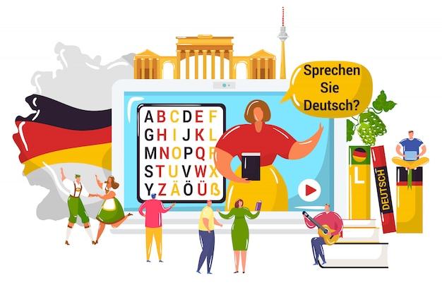 Aprendiendo el idioma francés, los pequeños estudiantes de dibujos animados aprenden a entender alemán, usando la aplicación de video de computadora