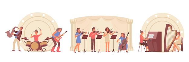 Aprendiendo música conjunto de composiciones planas con vistas de escenarios y personas tocando instrumentos musicales.