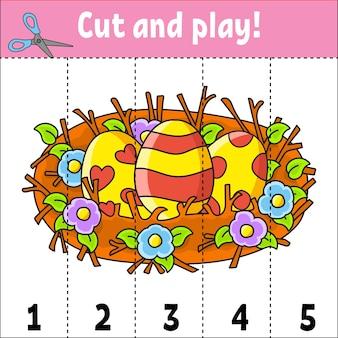 Aprendiendo números. corta y juega. hoja de trabajo de educación. juego para niños. página de actividad de color.