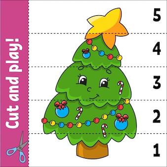 Aprendiendo números. cortar y jugar. hoja de trabajo de desarrollo educativo. juego para niños. página de actividades.