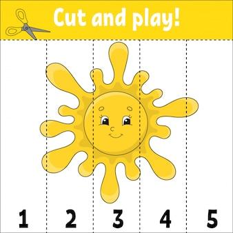 Aprendiendo números. cortar y jugar. hoja de trabajo de desarrollo educativo. juego para niños.