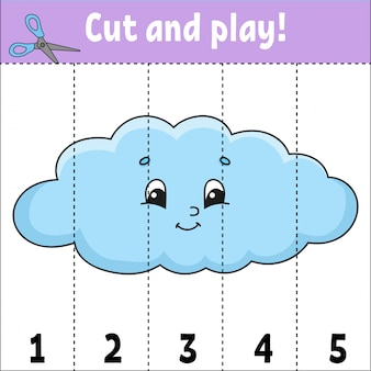 Aprendiendo números. cortar y jugar. hoja de trabajo de desarrollo educativo.