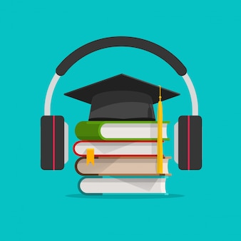 Aprendizaje de audio electrónico o estudio en línea a través de auriculares