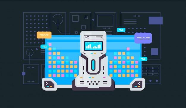 Aprendizaje automático, algoritmo, banner de vector de línea plana de inteligencia artificial con iconos aislados en azul