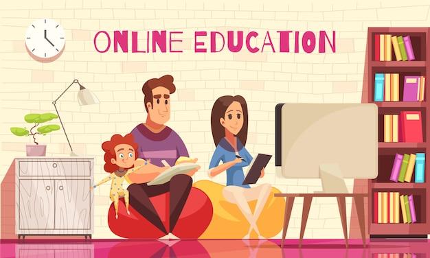 Aprendizaje en casa educación lejana para familia con niños composición de dibujos animados con padres jóvenes detrás de computadora