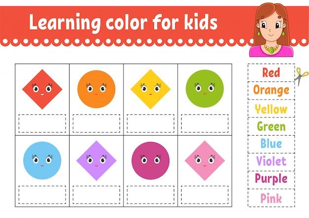 Aprendizaje de color para niños. hoja de trabajo de desarrollo educativo. página de actividades con imágenes en color.