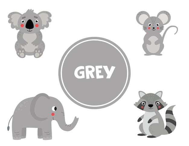 Aprendizaje de colores primarios para niños. lindas imágenes en color gris. juego educativo para niños. páginas de actividades para educación en el hogar. practicando colores.