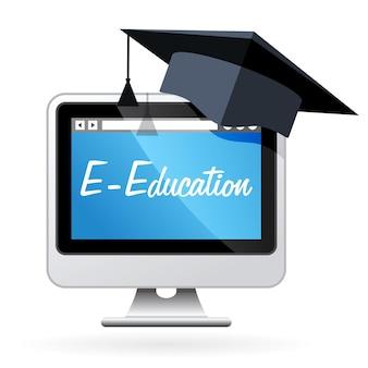 Aprendizaje a distancia: computadora y birrete, concepto de educación electrónica
