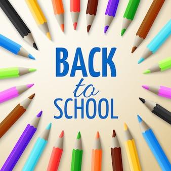 Aprendizaje y educación escolar vector concepto. volver a la escuela de fondo con lápices de colores 3d