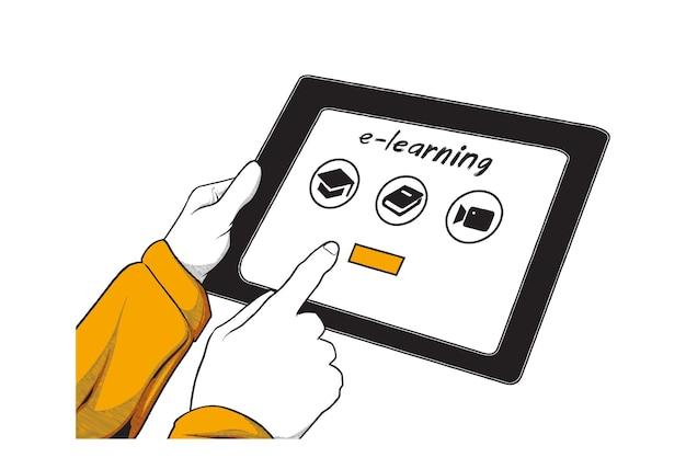 Aprendizaje electrónico con ilustración de gadget