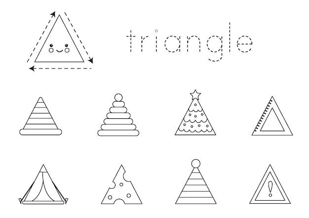 Aprendizaje de forma de triángulo para niños. formas 2d básicas.